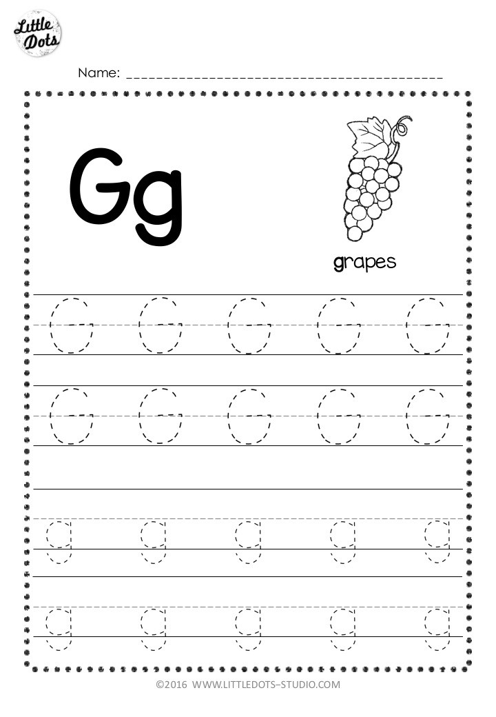 Free letter g tracing worksheet with line