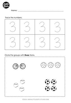 Free number 3 worksheet for pre-k level. Practice to trace and count one to one correspondence.