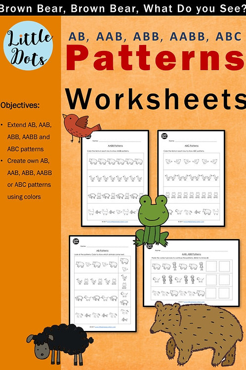 Brown Bear, Brown Bear, What Do You See? Patterning Worksheets