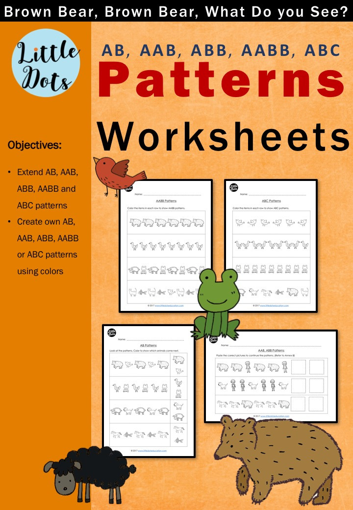 Brown Bear, Brown Bear, What Do You See? Patterns Worksheets Set for Pre-K and Kindergarten