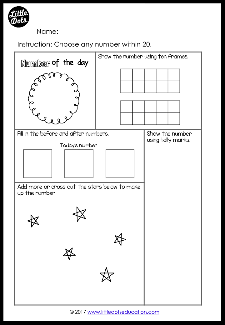 Printable Worksheets tally mark worksheets for first grade : Free Number of the Day Printable and Worksheet for K-2 | Little ...
