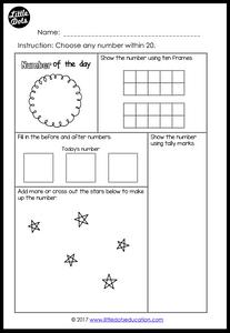 Number of the day worksheet for kindergarten