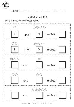 Free addition worksheet suitable for kindergarten or grade 1 level. Understand that the term 'and' means to add.