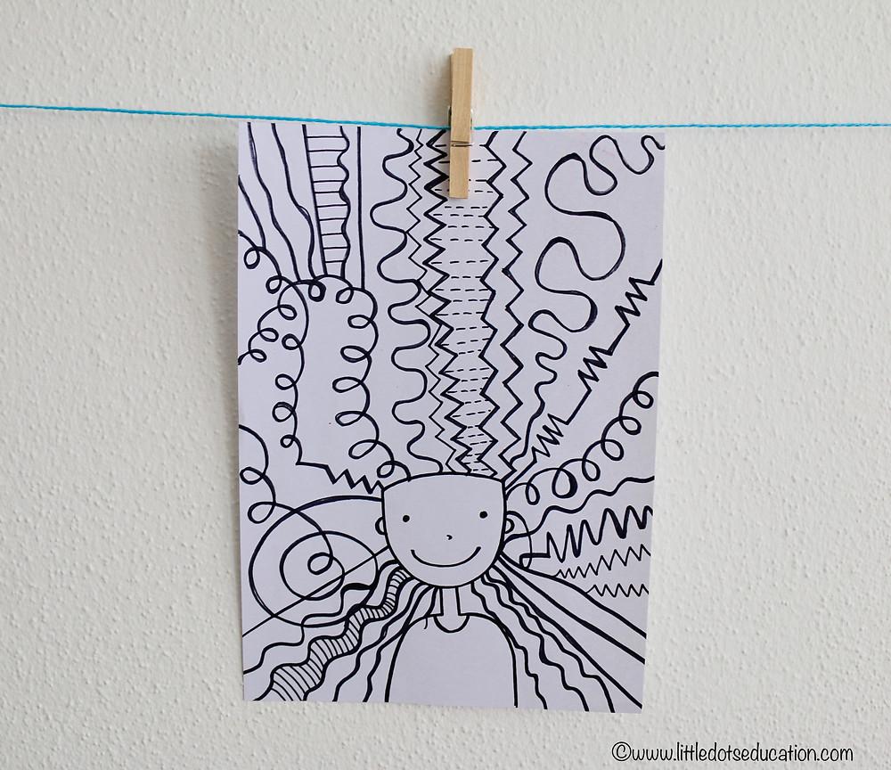 Line art activity for preschool