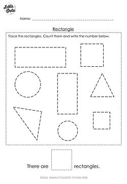Free Pre-K rectangle shape worksheet. Learn to recognise and count the rectangle shapes.