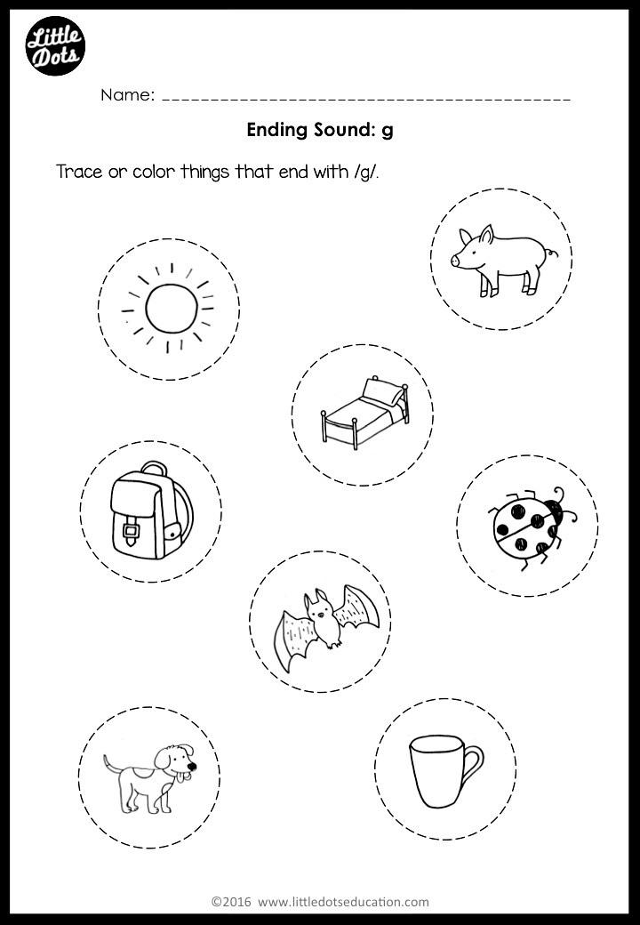 Ending sound g worksheet for preschool, pre-k or kindergarten.
