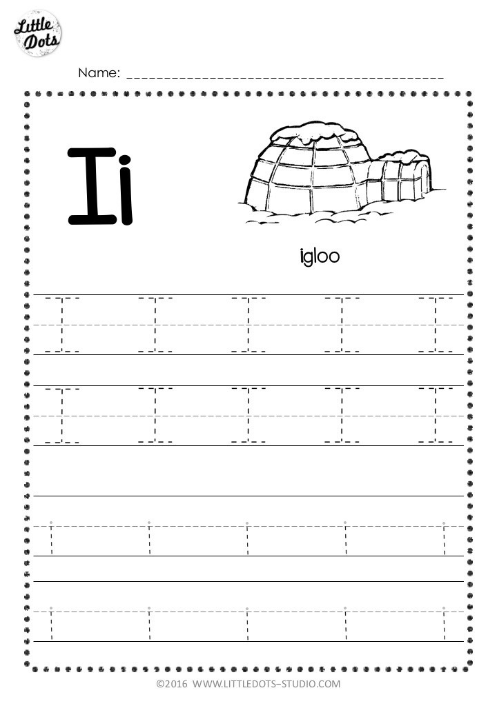 Free letter i tracing worksheet with line