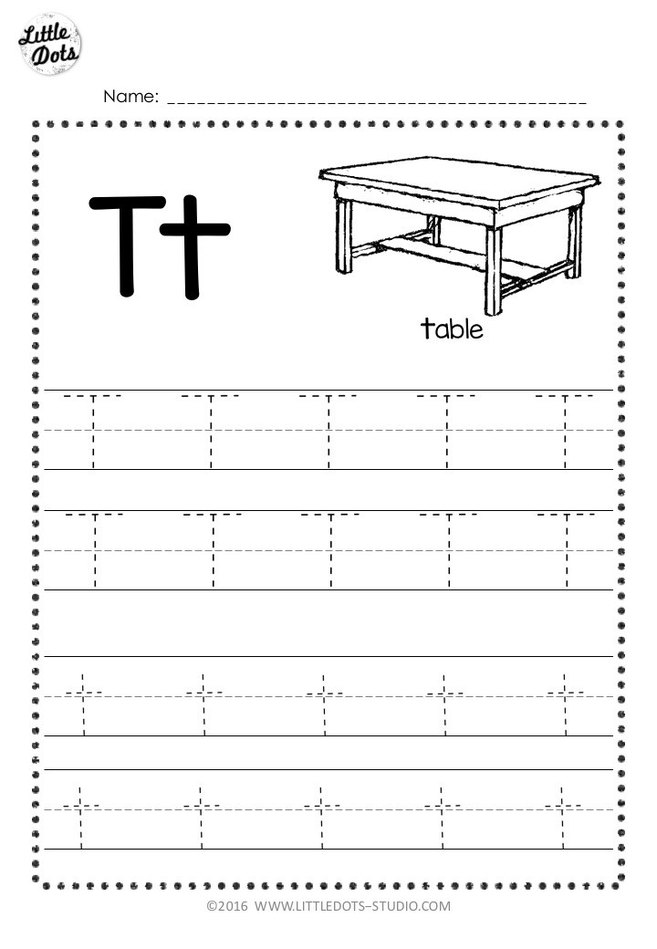 Free letter t tracing worksheet with line