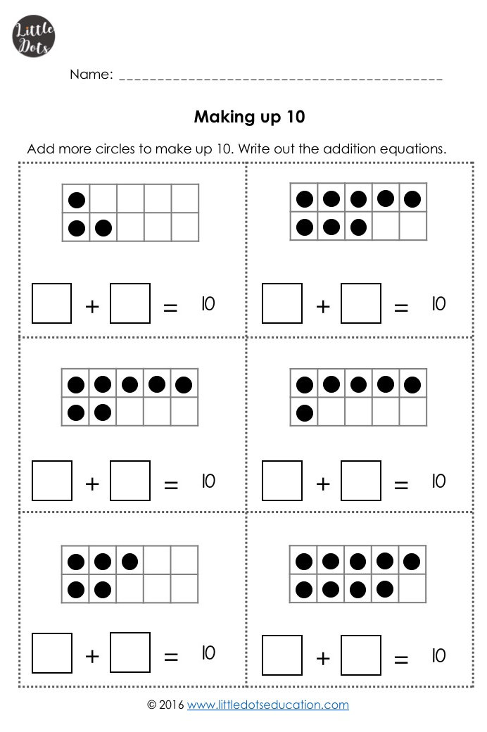 Kindergarten Math Worksheets 1 10