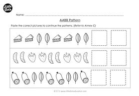 The Very Hungry Caterpillar patterning worksheet. Practice to continue AABB patterns.