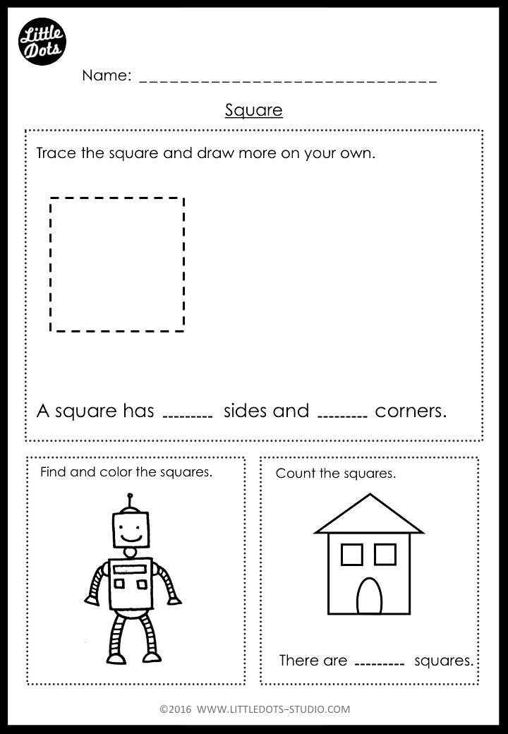 Square shape sides and corners worksheets for kindergarten