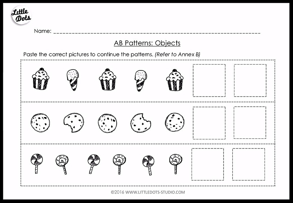Pre-K AB patterns worksheet