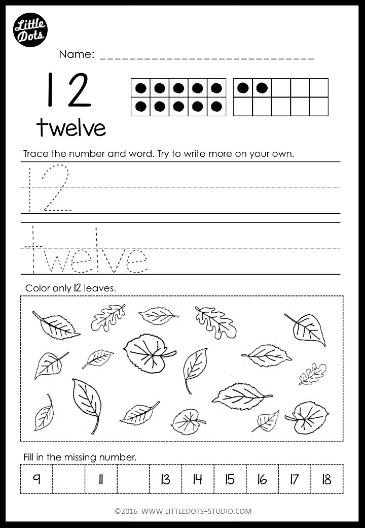 kindergarten number 12 worksheet