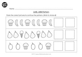 The Very Hungry Caterpillar patterning worksheet. Practice to continue AAB and ABB patterns.