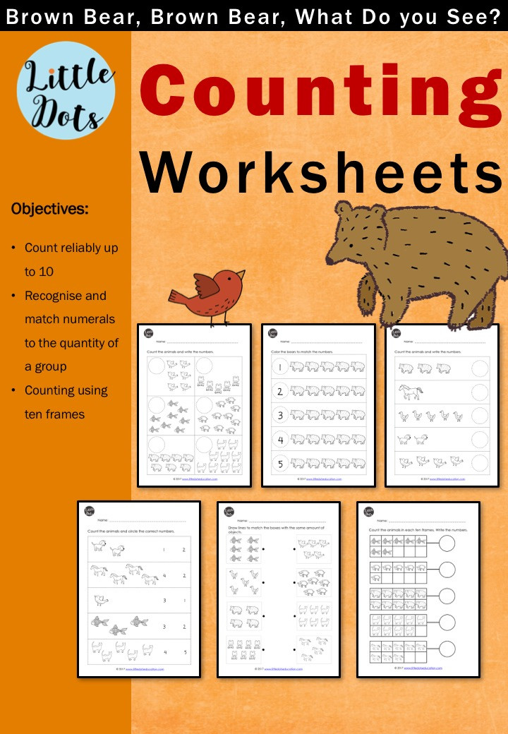 Brown Bear, Brown Bear, What Do You See? Free Counting Worksheets and Activities