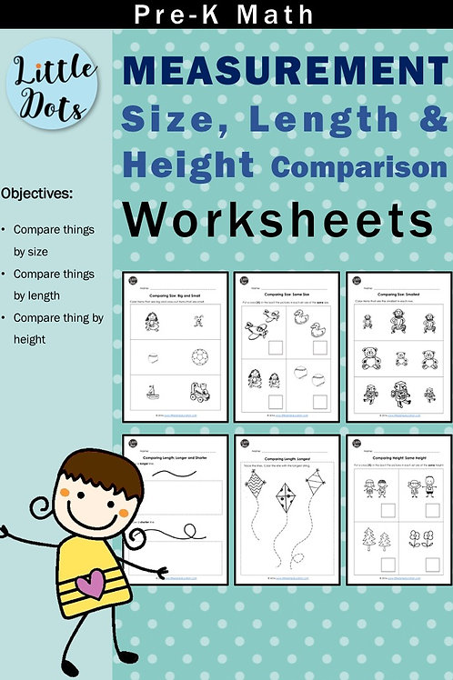 Pre-K Measurement Worksheets (Size, Length and Height Comparison)