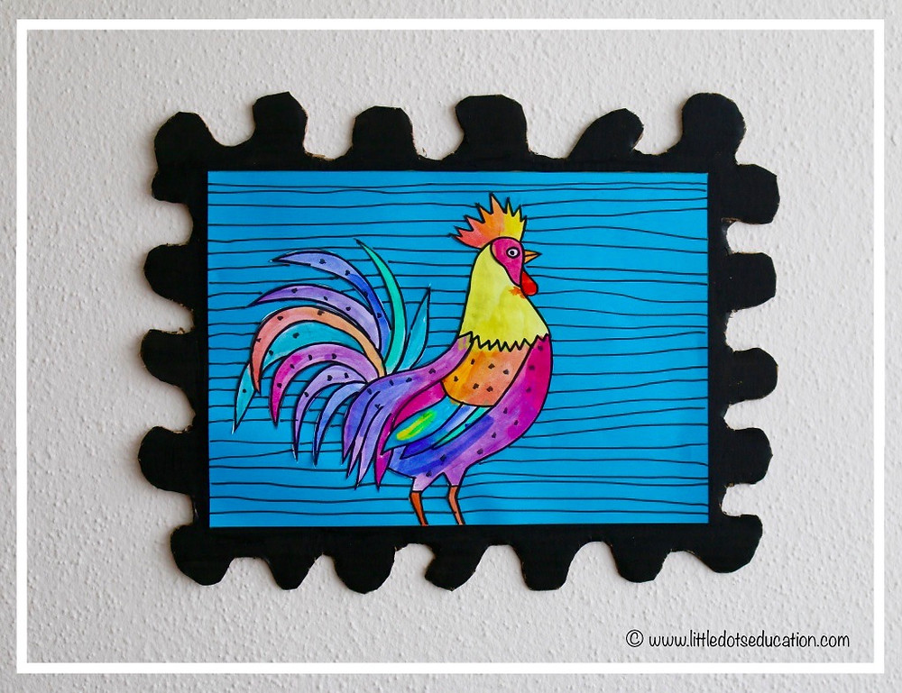 Rooster painting for kids
