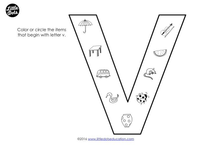 Letter V Sound Worksheet