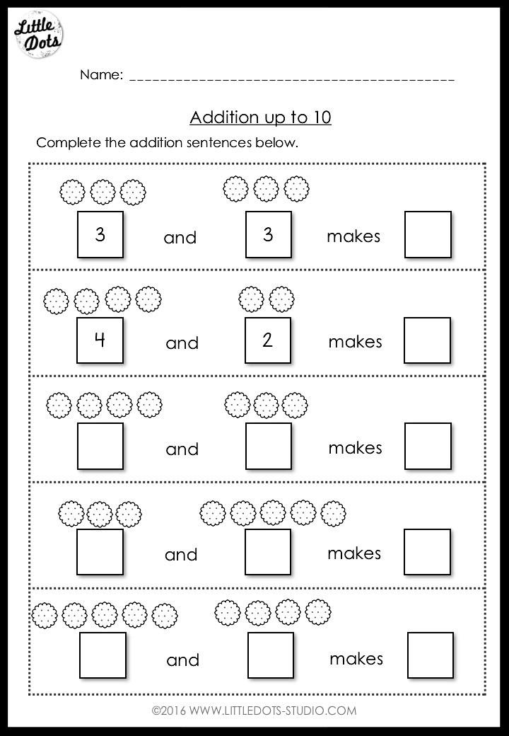 Addition within 10 worksheet for kindergarten