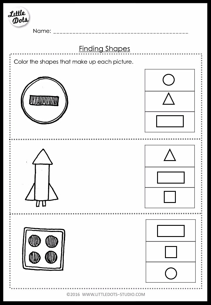 finding shapes worksheet for pre-k