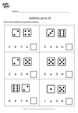 Free addition worksheet suitable for kindergarten or grade 1 level. Practice solve addition equations with the help of dice.