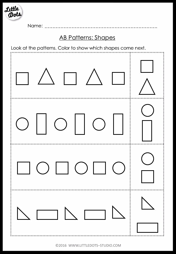 AB patterns worksheet for pre-k using shapes