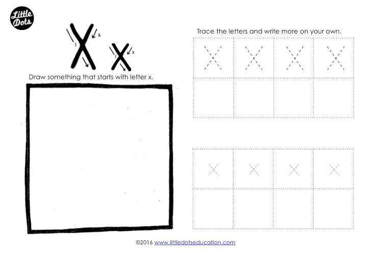 Letter X Tracing Worksheet