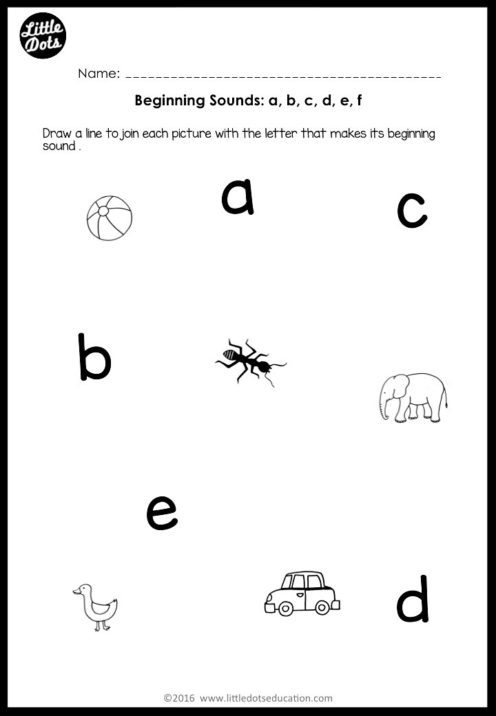 beginning sounds worksheet for preschool or kindergarten class
