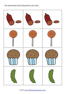 Download free The Very Hungry Caterpillar food printable. You can use these printable to create graph or chart, for patterning or counting activities, story dramatization and more!