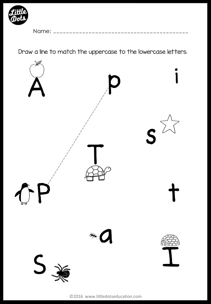 Uppercase and lowercase letters matching activity
