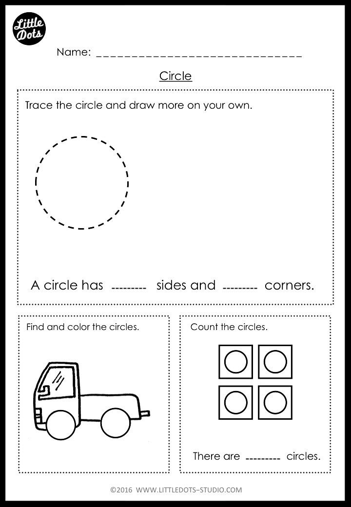 Circle shape worksheets for kindergarten