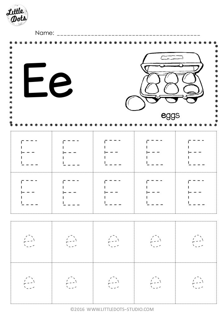 Free letter e tracing worksheet