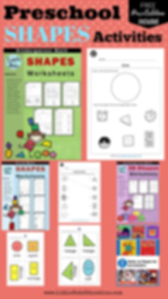 Preschool shapes worksheets, activities, printables and flashcards