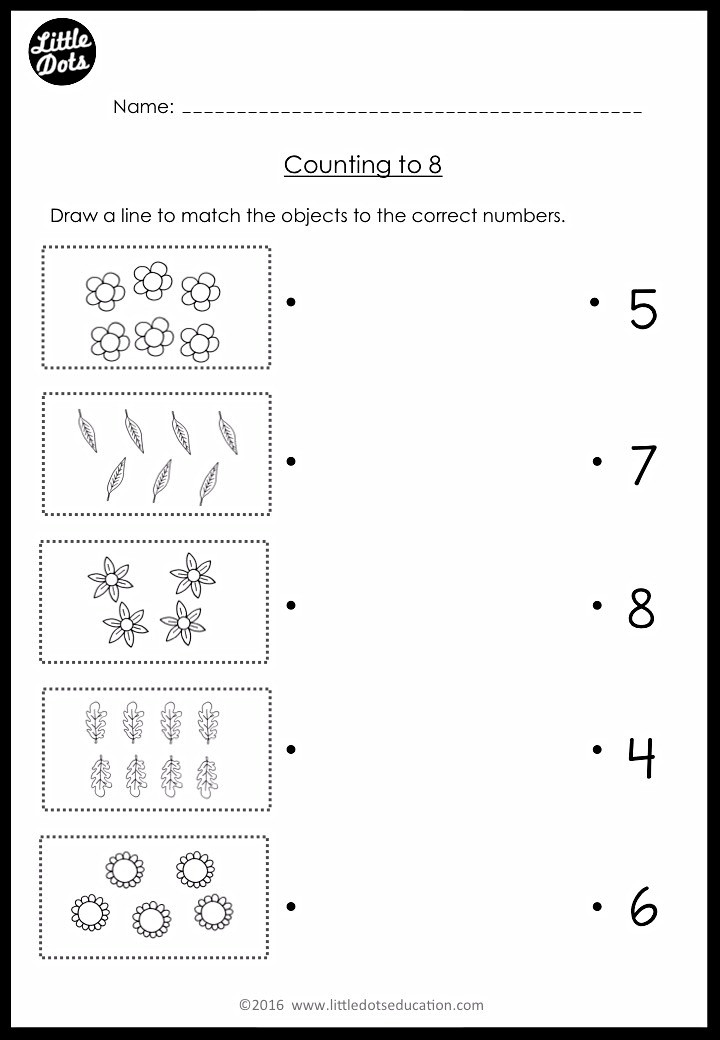 Pre-K counting and matching worksheet