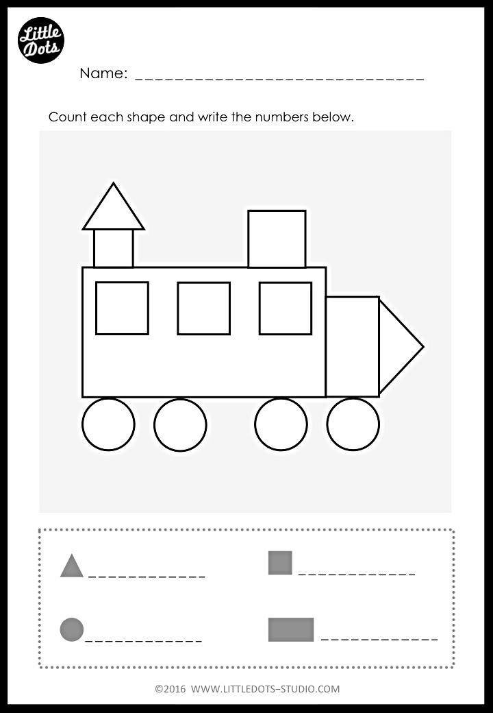 Kindergarten counting shapes in picture activity