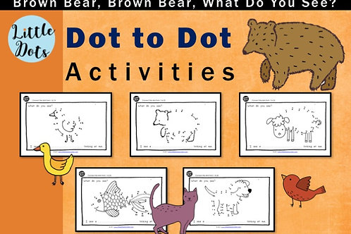 Brown Bear, Brown Bear, What Do You See? join the dot activities for pre-k and kindergarten