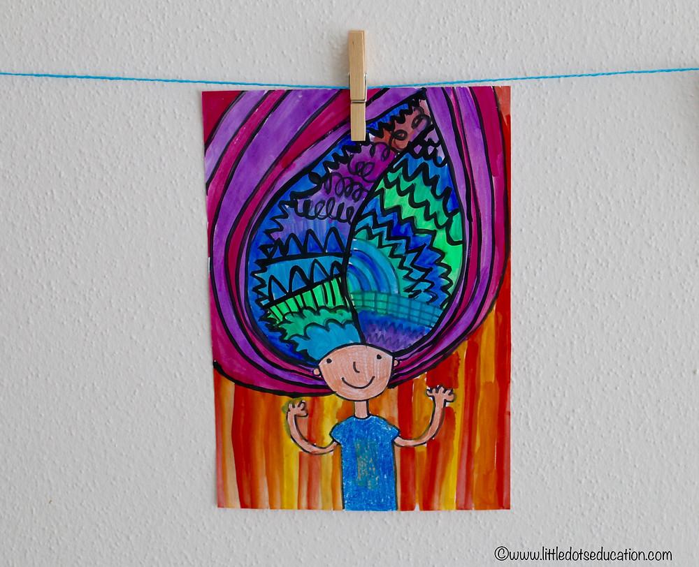 Troll hair art activity for kids