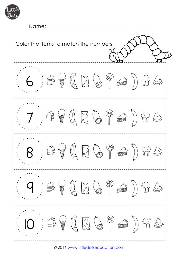 The very hungry caterpillar math worksheet on counting