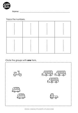 Free number 1 worksheet for pre-k level. Practice to trace and count.