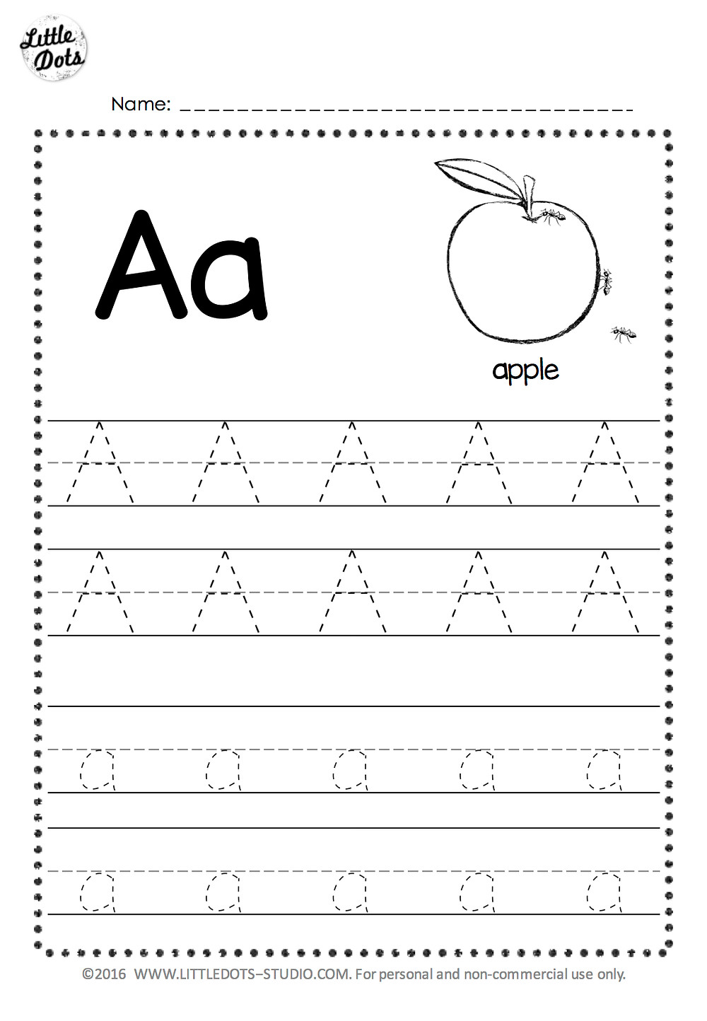 Free letter a tracing worksheet with line