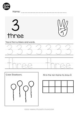 Free number and counting worksheet for kindergarten. Practice to trace number and number word for 3. Learn to represent number 3 using objects and ten frame.