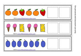 Free The Very Hungry Caterpillar Pattern Strips Printable. Practice to continue AB, AAB, ABB, AABB, ABC and ABBC patterns, suitable for pre-k and kindergarten level.