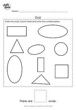 Free Pre-K oval shape worksheet. Learn to recognise and count the oval shapes.