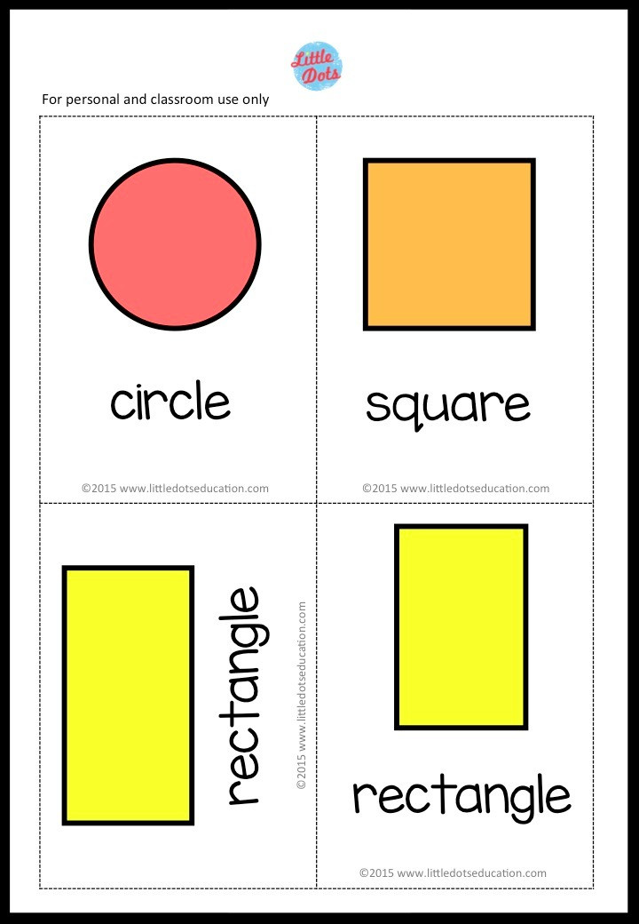 Free Shapes Flashcards for preschool