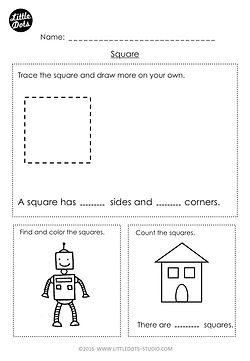 Free kindergarten square shape worksheet. Learn the basic properties of square shape and find square shapes in pictures.