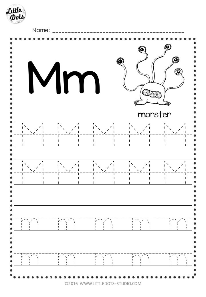 Free letter m tracing worksheet with line