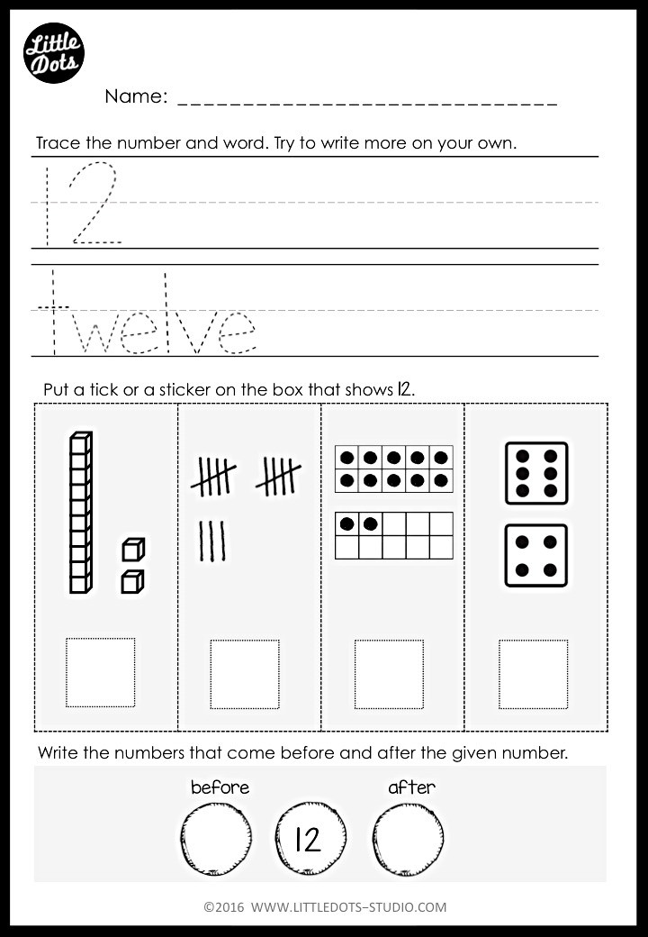 number 12 worksheet for kindergarten