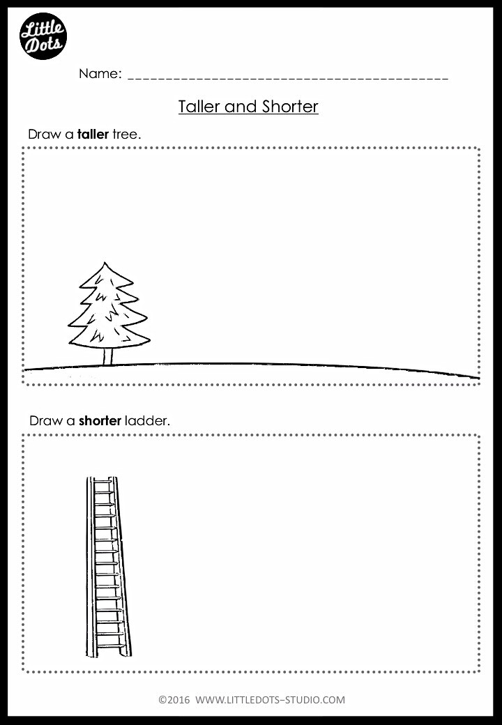 Pre-K taller or shorter worksheet