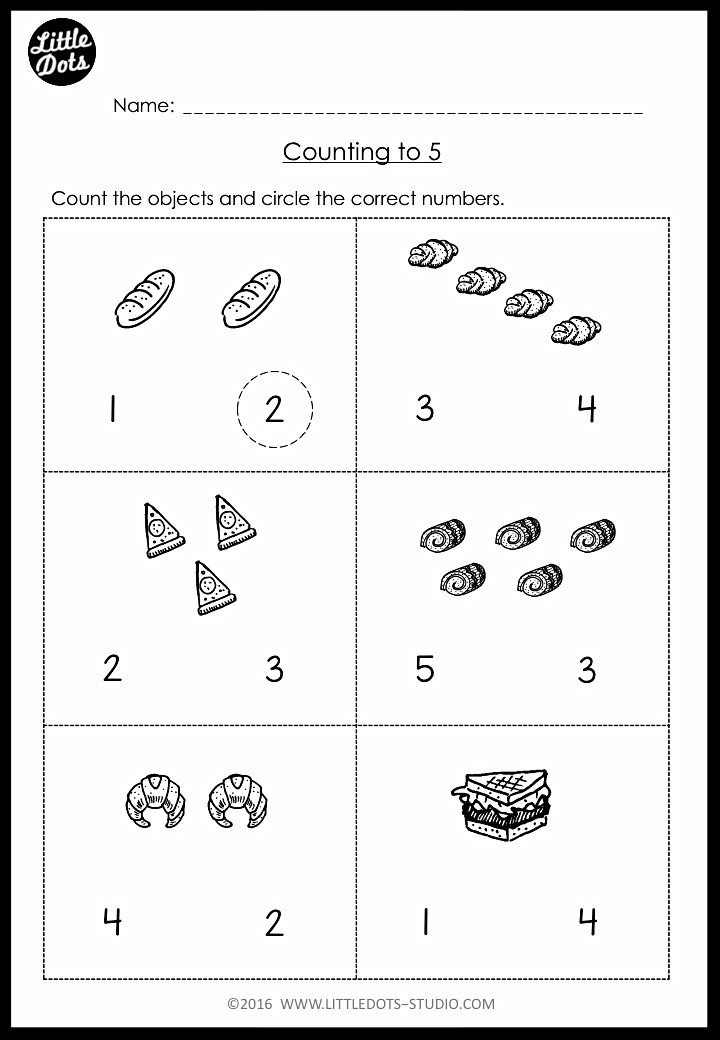 Counting and circle the number worksheet for pre-k