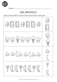 Free The Very Hungry Caterpillar patterning worksheet. Practice to continue AAB and ABB patterns.